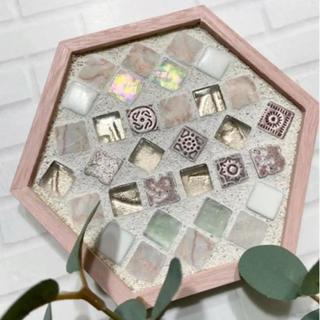 六角ピンクタイルトレー壁飾り...♪*゚(インテリア雑貨)