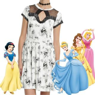 ディズニー(Disney)のディズニー プリンセス ワンピース 白雪姫 シンデレラ ベル オーロラ姫(ひざ丈ワンピース)
