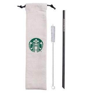 Starbucks Coffee - スターバックス:チタン製 黒 ストローセット ロゴ 台湾 スタバ