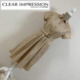 クリアインプレッション(CLEAR IMPRESSION)のクリアインプレッション シャツワンピース ベージュ(ひざ丈ワンピース)
