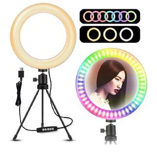 2 LEDリングライト ELEGIANT RGB 10色10段階調光モード (自撮り棒)