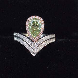 グリーンダイヤモンド リング K18 新品 在庫要確認(リング(指輪))