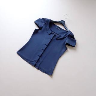 フォクシー(FOXEY)の■FOXEY NY■ 42 濃紺 チューリップスリーブ トップス(シャツ/ブラウス(半袖/袖なし))
