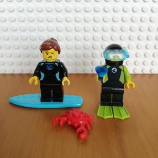 レゴ(Lego)のレゴ ミニフィグ ダイバー、サーファー、カニ(キャラクターグッズ)