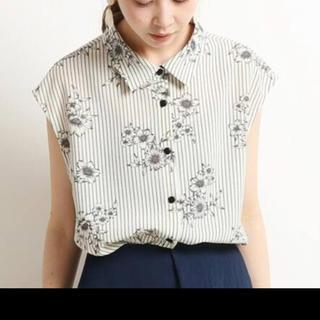 イエナ(IENA)の新品 イエナ ストライプ フラワー シャツ(シャツ/ブラウス(半袖/袖なし))