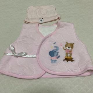 アカチャンホンポ(アカチャンホンポ)の日本製 ベビーベスト スリーパー 帽子 出産準備 秋生まれ 動物柄 くま ぞう(パジャマ)