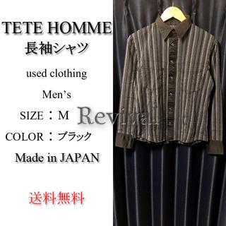 テットオム(TETE HOMME)のTETE HOMME 長袖 シャツ ブラック M 日本製 美品(シャツ)