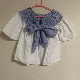 韓国 ビックリボンブラウス トップス オフショルブラウス オフショル Tシャツ(シャツ/ブラウス(半袖/袖なし))