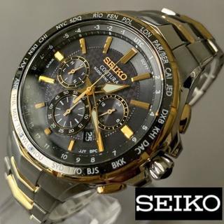 セイコー(SEIKO)の【美品】SEIKO 電波ソーラー ゴールド クロノグラフ セイコー メンズ腕時計(腕時計(デジタル))