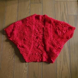 布屋みさやま 花しぼりカーディガン 絞り ボレロ 赤(ボレロ)
