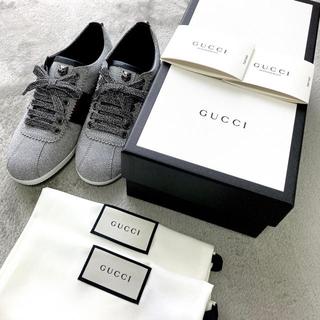グッチ(Gucci)のGUCCI🌺スタッズ付きグリッターウェブスニーカー🌺シルバー(スニーカー)