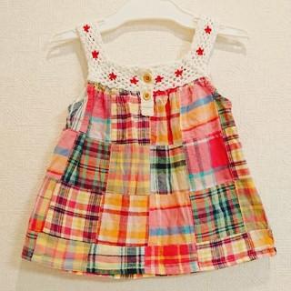 95cm☆チェック☆花刺繍☆トップス(Tシャツ/カットソー)