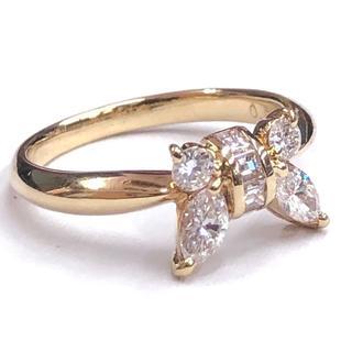 K18 ダイヤモンド 0.63ct ゴールドデザインリング リボンモチーフ(リング(指輪))