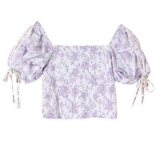 エイミーイストワール(eimy istoire)のAmanda flower eimy ribbon シャーリングトップス 💜 (シャツ/ブラウス(半袖/袖なし))