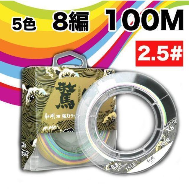 YU50 PEライン 釣り糸 8編 5色 マルチカラー 100m (2.5#) スポーツ/アウトドアのフィッシング(釣り糸/ライン)の商品写真