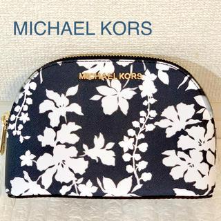 マイケルコース(Michael Kors)のMICHAEL KORS マイケルコース 花柄ポーチ ネイビー(ポーチ)