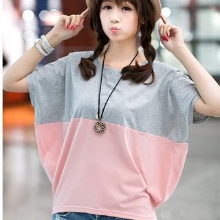 ビッグシルエットTシャツ グレー ピンク L(Tシャツ(半袖/袖なし))