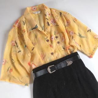 サンタモニカ(Santa Monica)のused レトロ シワ加工 花柄 ブラウス 古着 ヴィンテージ vintage(シャツ/ブラウス(半袖/袖なし))