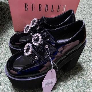 バブルス(Bubbles)のBUBBLES ダブルバックル厚底シューズ 38 新品タグ付き(ローファー/革靴)