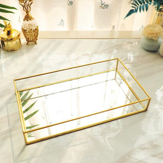 フランフラン(Francfranc)のゴールド ガラス ミラー トレイ アクセサリーケース 入れ(インテリア雑貨)