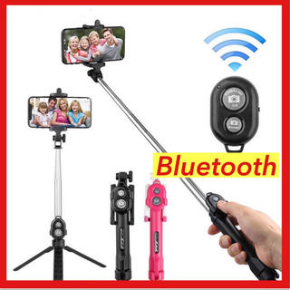 【SALE】自撮り棒 Bluetooth  遠隔操作 セルカ棒 スマホ三脚 黒 (自撮り棒)