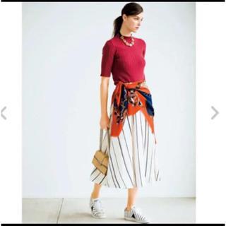 ミラオーウェン(Mila Owen)の新品タグ付き ミラオーウェン ストライプ リネン フレア スカート(ロングスカート)