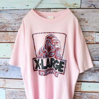 エクストララージ(XLARGE)のXLARGE エクストララージ Tシャツ ビッグロゴ ペイズリー  ピンク S(Tシャツ/カットソー(半袖/袖なし))