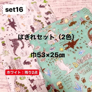 ダブルガーゼ 生地 はぎれセット(2色)恐竜 カワグチミヤコ 巾53×25㎝(生地/糸)