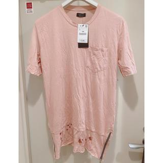ザラ(ZARA)の【半額以下】新品タグ付き ZARA Tシャツ ピンク L(Tシャツ/カットソー(半袖/袖なし))