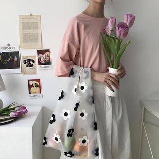 ザラ(ZARA)の新作★オーガンジー デイジーチュールバッグ 花柄刺繍 トートバッグ エコバッグ (エコバッグ)