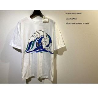 コムサメン(COMME CA MEN)のCOMME CA BETA MEN 日本製 ウェーブTシャツ ホワイト Mサイズ(Tシャツ/カットソー(半袖/袖なし))