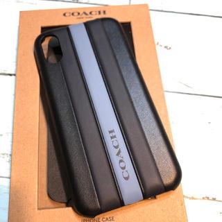 コーチ(COACH)のコーチ iPhone XS X ケース 黒 ロゴレザー アイホン ブランド 新品(iPhoneケース)