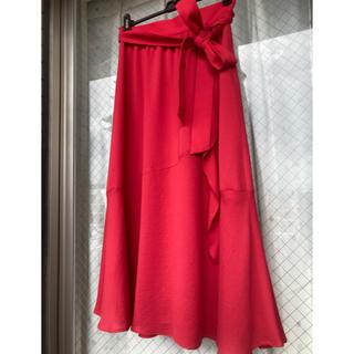 アンタイトル(UNTITLED)のuntitledフレアロングスカート/レッド赤色red M(ロングスカート)