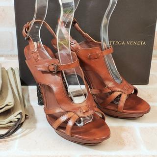 Bottega Veneta - ボッテガヴェネタ ★ イントレチャートヒール レザー サンダル 37