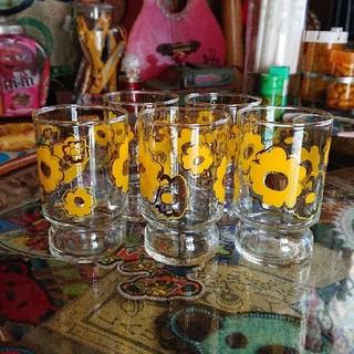 トウヨウササキガラス(東洋佐々木ガラス)の昭和レトロ グラス 5個セット(グラス/カップ)
