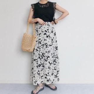 GU - 【GU】フラワープリントAラインロングスカート Mサイズ