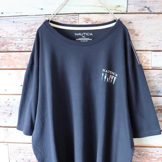 ノーティカ(NAUTICA)のNAUTICAノーティカ Tシャツ バックプリント 白ステッチ ネイビー XL(Tシャツ/カットソー(半袖/袖なし))