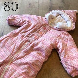ファミリア(familiar)のファミリア 新品 ピンク ジャンプスーツ 80 可愛い(カバーオール)
