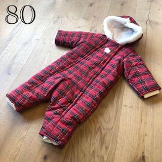 ファミリア(familiar)のファミリア 新品 ジャンプスーツ 赤 ファミリアチェック 80(カバーオール)