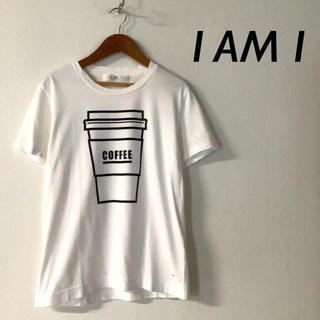 アイアムアイ(I am I)のI AM I コーヒー プリント Tシャツ カットソー ホワイト(Tシャツ(半袖/袖なし))