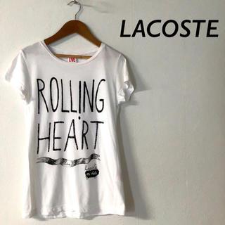 ラコステライブ(LACOSTE L!VE)のLACOSTE LIVE フロント プリント Tシャツ カットソー  ホワイト(Tシャツ(半袖/袖なし))