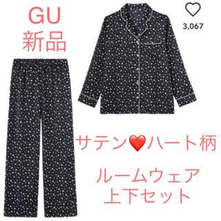 GU - ジーユーGU ルームウェア♡サテン パジャマ上下セット 長袖 ハート柄 紺色 M