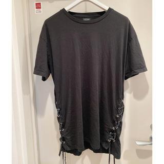 ザラ(ZARA)の定価4千円 美品 ZARA Tシャツ 紐 ブラック L(Tシャツ/カットソー(半袖/袖なし))