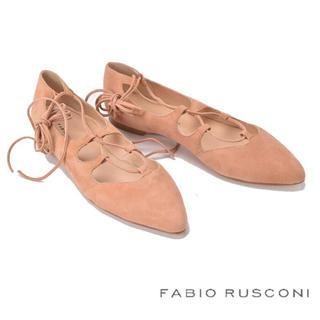 ファビオルスコーニ(FABIO RUSCONI)のFABIO RUSCONI♡レースアップ パンプス37♡イタリア製レザー(バレエシューズ)