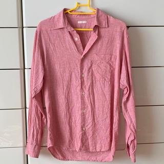 ジーユー(GU)のメンズリネンシャツ ピンクXS(シャツ)