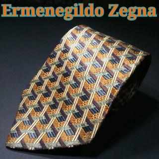 エルメネジルドゼニア(Ermenegildo Zegna)の【極美品】Ermenegildo Zegna チェック ネクタイ ブラウン(ネクタイ)