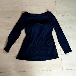ニシマツヤ(西松屋)の授乳服 パット付きロングTシャツ 黒(マタニティトップス)