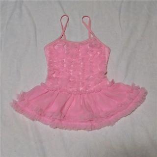 帽子付きひらひら水着 ピンク 子供用 110cm(水着)