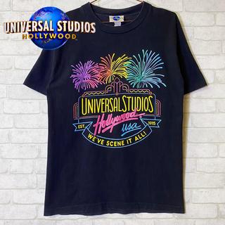 ユニバーサルエンターテインメント(UNIVERSAL ENTERTAINMENT)のユニバーサルスタジオ USA製 ラメ入り 発泡プリントTEE ハリウッド/S(Tシャツ/カットソー(半袖/袖なし))