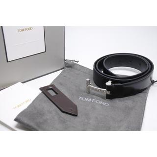 トムフォード(TOM FORD)のトムフォード ベルト Tバックル メンズ 90 ブラック シルバー 箱付き 美品(ベルト)